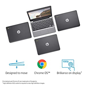 HP Chromebook 11-inch Laptop, Intel Celeron N3060 Processor, 2 GB SDRAM, 16 GB eMMC Storage, Chrome OS (11-v000nr, Ash Gray) (Tamaño: 11-11.99 inches)