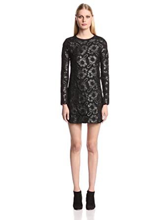 French Connection Women's Daisy Lace Long Sleeve Dress, Black, 0