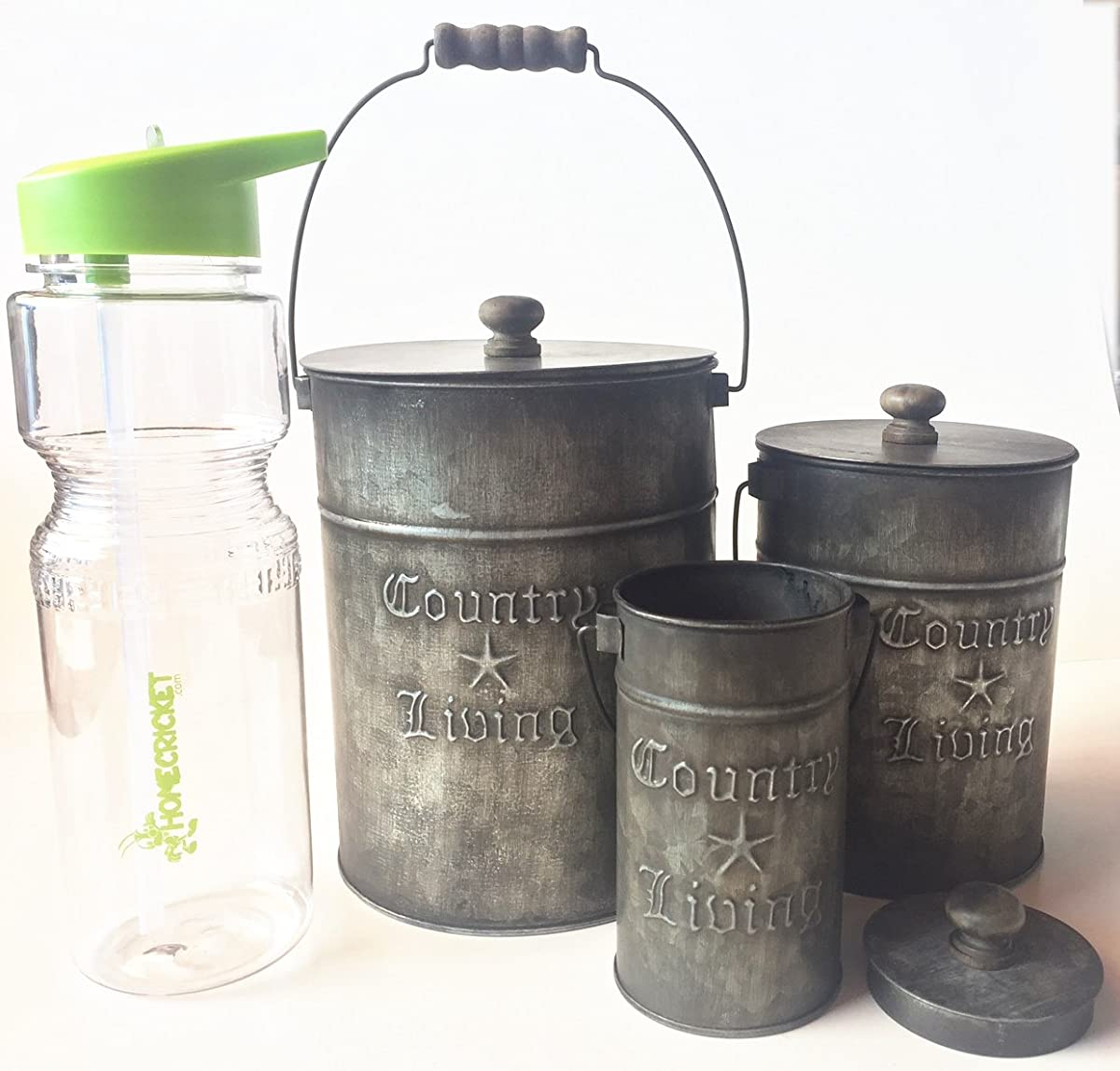 Gift Included- Set of 3 Rustic Country Living Canisters Home Decor Accents + FREE Bonus 23 oz Water Bottle byHomecricket