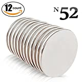 Neodymium N52 Magnets Round/Disc Rare Earth Magnets 12-Piece Set. For DIY/Home Improvement, Door Catches, Magnetic Therapy, Crafts, Model-Making & More! By Tynetics