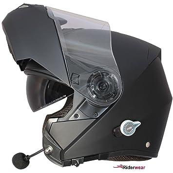 Casque Moto Bluetooth RS-V151 BL + Modulaire Casque Scooter tournées Casque Noir Mat (M)