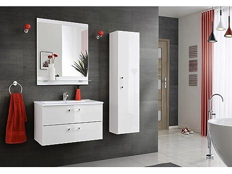 mobili da bagno Adle bianco con lavandino - bianco, Mittlerer Teil mit Hochschrank 80cm