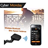 V-Best Bluetooth Bike Speedometer Wireless Bluetooth 4.0 Bicycle Cadence Sensor Rate Monitor ANT Fitness for iPhone iPad Android Cycling Speedometer/Odometer (Black) (Color: Bluetooth-Black02)