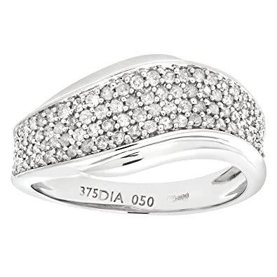 Naava 9ct White Gold 050ct Diamond Half Eternity Wave Ring