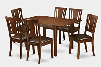 East West Furniture MLDU7-MAH-LC 7-Piece Kitchen Nook Dining Table Set