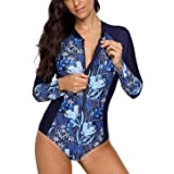 beautyin Womens Sun Protection Rashguard Long Sleeve One Piece Swimsuit Sport Tops S Navy (Color: Navy, Tamaño: Small)
