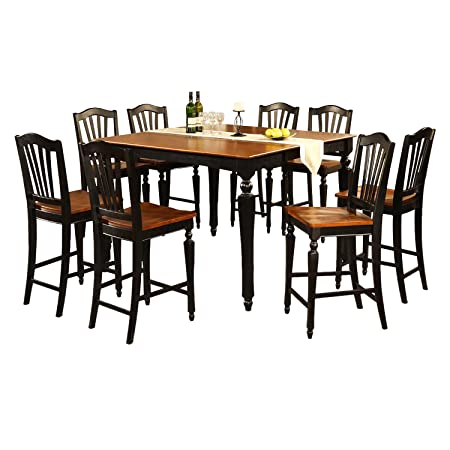 East West Furniture CHEL5-BLK-W 5-Piece Counter Height Dining Table Set