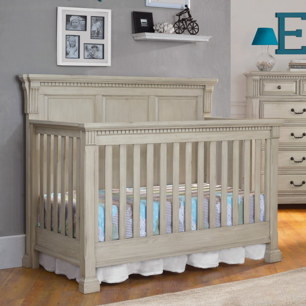 Monbebe Everett 4-in-1 Convertible Crib - Antique 0