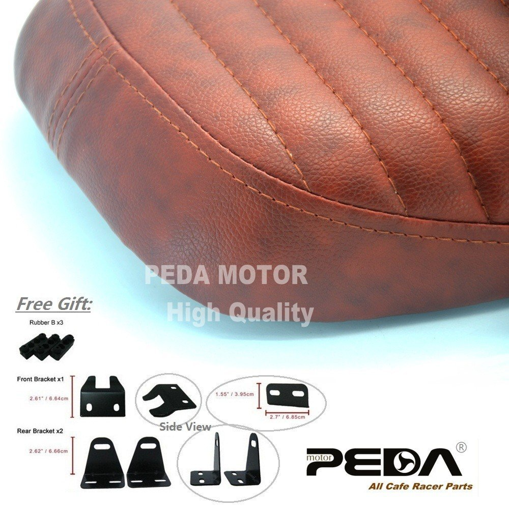 PEDA New Brown Cafe Racer Flat Seat Retro Locomotive Refit Motorcycle Seats Vintage Leather Waterproof 2