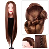 Filfeel Hair Mannequin Head Cosmetology Doll Head Synthetic Fiber Styling Dye Cutting Manikin for Hairdresser Practice Training Brown & 24inch Long Hair (Color: Brown)