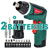 LANNERET Electric Screwdriver Hand Drill 2x Pack 1500mAh 7.2V Li-Ion Battery MAX Torque 9N.m Rechargeable Cordless Screwdriver with 6+1 Torque,10pcs Drill Bits LED Light,Green (Color: Green and Black, Tamaño: CS7.2B_7.2V Cordless Screwdriver_Single)