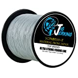 Jig Jerking SUPER POWER 4/8 Strands Braided Fishing Line 100% PE with ZERO Stretch & Abrasion Resistant (500M/547Yds 20Lb 30Lb 50Lb 80Lb 100Lb) - MUST HAVE ! (Color: Gray, Tamaño: 547Yds/100Lb(.55mm)/8Strands)