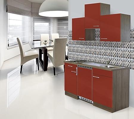 respekta Einbau Single Kuche Kuchenblock 150 cm Eiche York Nachbildung Rot Ceran