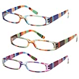 GAMMA RAY 3 Pairs Ladies Slim Fashion Readers Colorful Reading Glasses - 2.75x (Color: Color Block, Tamaño: 2.75x)