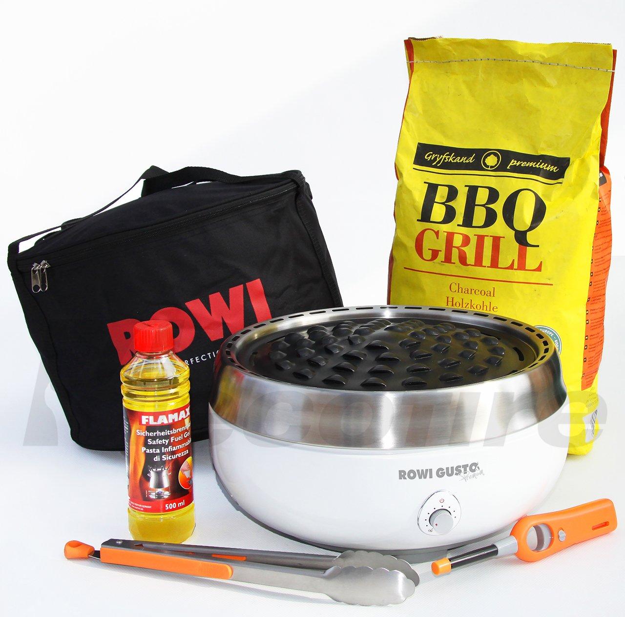 Holzkohle Tischgrill ROWI GUSTO Premium – Grillerette – Weiss, im Super Pack mit viel Grillzubehör und Buchen-Holzkohle günstig bestellen