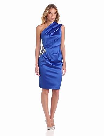 Eliza J Women's One Shoulder Side Ruched Detail Dress, Blue, 4