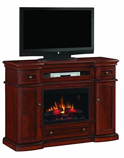"""ClassicFlame 26MM2490-C233 Montgomery TV Stand for TVs up to 60"""", Vintage Cherry (Electric Fireplace Insert sold separately)"""