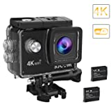 2018-Original SJCAM SJ4000 Air Action Camera 4K WiFi Underwater Cam 16MP Ultra HD Waterproof Sports Camera 170°Wide-Angle 2 Inch LCD with 2 Rechargeable 900mAh Batteries and Mounting Accessories Kit