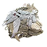 LAOZHOU 100 Gram Assorted Antique Feather and Wing Charms Pendant Bracelet Necklace Earrings Crafting DIY Jewelry Making Accessory(Feather and Wing) (Color: Feather and Wing)