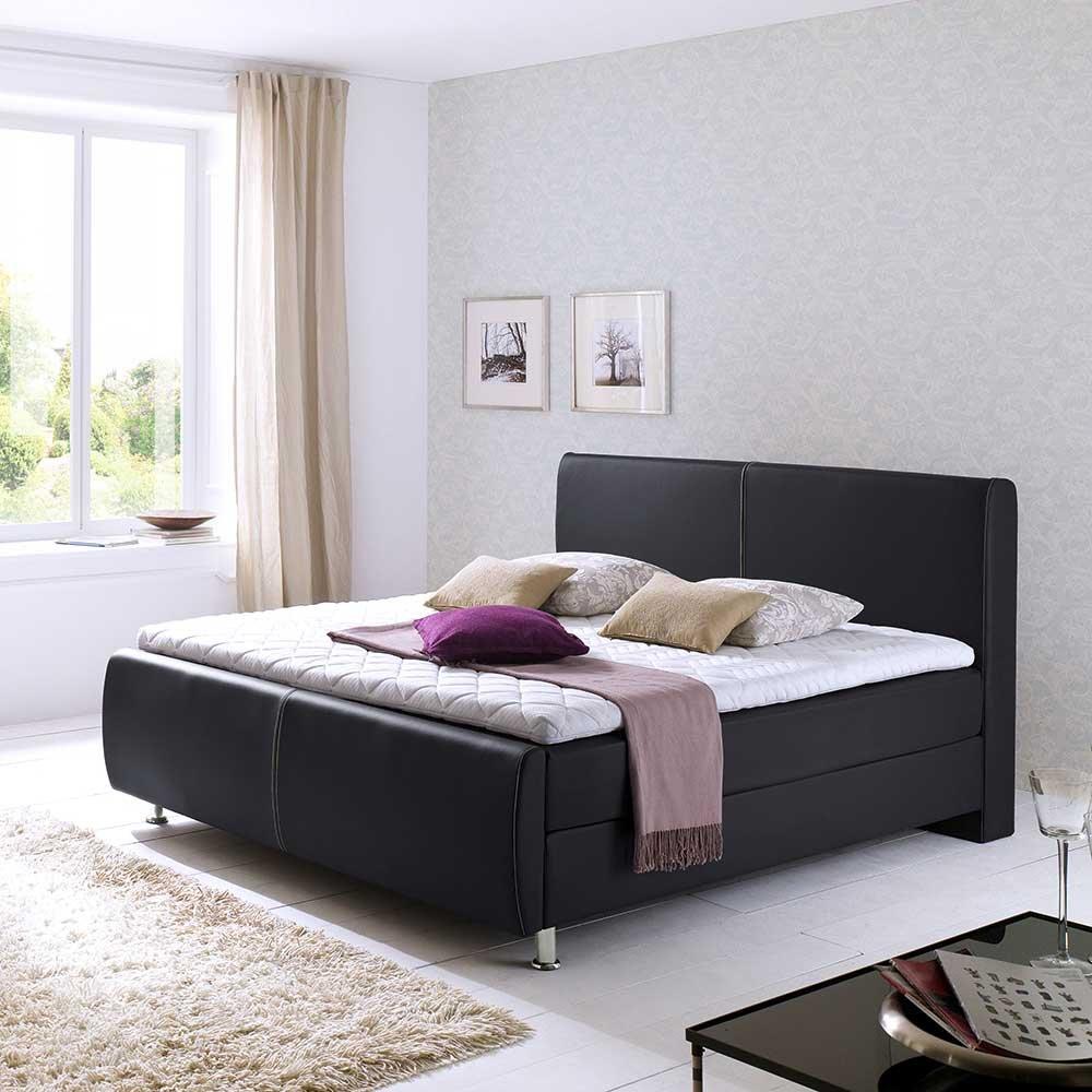 Boxbett in Schwarz Kunstleder Breite 143 cm Liegefläche 140×200 Pharao24 jetzt kaufen
