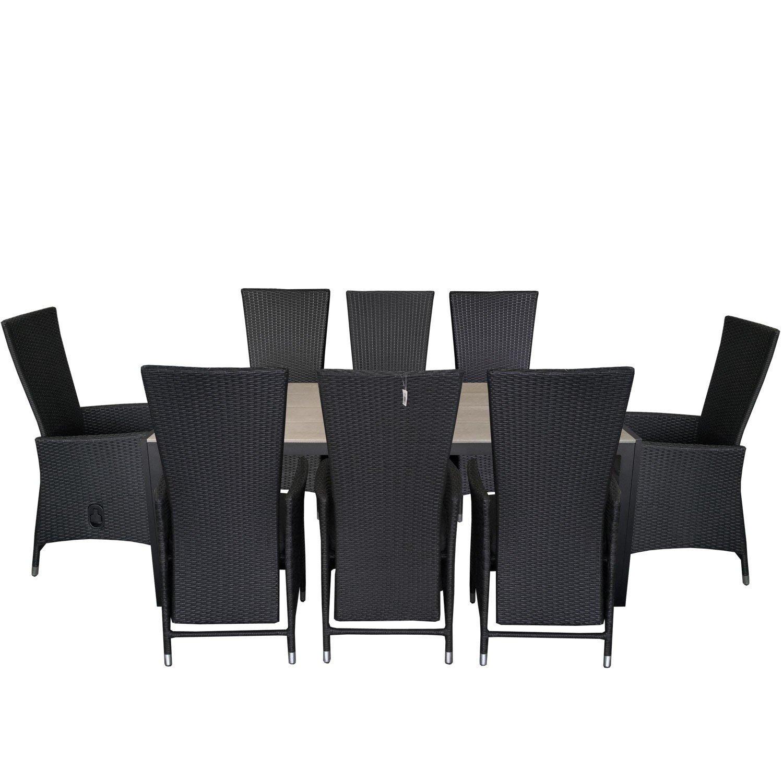 9tlg. Gartengarnitur Gartentisch 205x90cm Polywood Tischplatte Aluminium Poly Rattansessel Rückenlehne verstellbar inklusive Sitzpolster Sitzgruppe Terrassenmöbel Sitzgarnitur jetzt bestellen