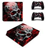 Adventure Games - PS4 SLIM - Skull, White on Red - Playstation 4 Vinyl Console Skin Decal Sticker + 2 Controller Skins Set (Tamaño: PS4 SLIM)