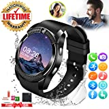 Smart Watch,Smartwatch for Android Phones, Smart Watches Touchscreen with Camera Bluetooth Watch Phone with SIM Card Slot Watch Cell Phone Compatible Android Samsung iOS Phone XS X8 7 6 5 Men Women (Color: Black)