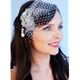 Leslie Li Crystal Bridal Birdcage Veil with Drop Crystal Brooch One Size White 27-31005