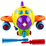 WolVol Take-A-Part Toy Airplane with Lights and Sounds for Kids, Equipped with Two Screwdriver Tools for Assembly