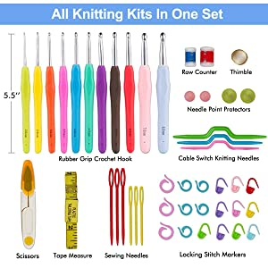 BONTIME Crochet Hooks Set - 11 Pieces Ergonomic Crochet Hooks with Portable Case, Contains All The Crochet Accessories Fit Any Projects, Ideal for Crocheters with Arthritic, Colorful Dots (Color: Colorful Dots)