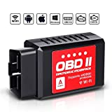 Audew Car WiFi OBDII Reader/Scanner,Wireless OBD2 Car Code Reader Scan Tool for iOS,Android and Windows Devices,Scanner Adapter Check Engine Diagnostic Tool Fit Most Vehicles