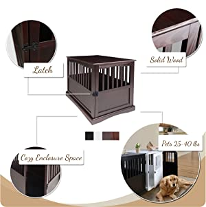 Casual Home Pet Crate End Table - Walnut (Color: Walnut, Tamaño: 24W x 36.5D x 29.25H)