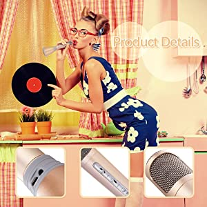 TOSING Wireless Kids Portable Karaoke Microphones with Bluetooth Speaker for Music Playing and Singing Machine System for iPhone/Android Smartphone/Ta