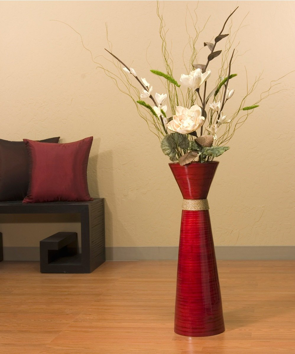 28 in. Bamboo Persimmon Vase and Dried Flowers