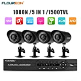 FLOUREON House Camera 4CH DVR Home Security System 1080N AHD DVR + 4 X Outdoor 1500TVL 720P Bullet Security Servalance Cameras Night Version (4CH+1500TVL)