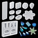 18 Shapes Silicone Resin Casting Mould Pendant Mould with Hanging Hole for Jewellery DIY Craft Making