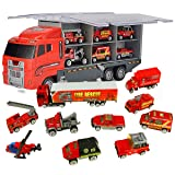 Jenilily Fire Truck Vehicle Container Car Toy Set Mini Firetrucks Toy for Children Kids (11 in 1 red) (Tamaño: 11 in 1 red)