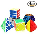 Tresbro Speed Cube Set 6 Pack Megaminx Pyramid Mastermorphix Skewb SQ-1 Mirror Cube Smooth Speedcubing Magic Cube Puzzle for Adults and Kids