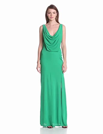 BCBGMAXAZRIA Women's Lena Draped Evening Dress With Cowl Back, Light Kelly Green, Large