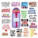 Cute Stickers for Hydro flasks[19pcs] Cute, Positive, Lovely, Trendy, Aesthetic, Waterproof Vinyl Sticker for Teen, Girls, Feminists - for Water Bottles Laptop MacBook Computer iPhone iPad Guitar (Color: Words)