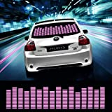 DIYAH Auto Sound Music Beat Activated Car Stickers Equalizer Glow LED Light Audio Voice Rhythm Lamp 45cm X 11cm / 18in X 4.5in (Pink) (Color: Pink)