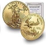 2020 1/10 oz Gold American Eagle BU In Coin Flip With CoinFolio COA $5 Brilliant Uncirculated