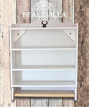 wand k chenrollenhalter tassenregal im landhausstil. Black Bedroom Furniture Sets. Home Design Ideas