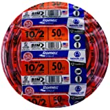 Southwire 28829022 50' 10/2 with ground Romex brand SIMpull residential indoor electrical wire type NM-B, Orange (Color: Orange, Tamaño: 50 ft)