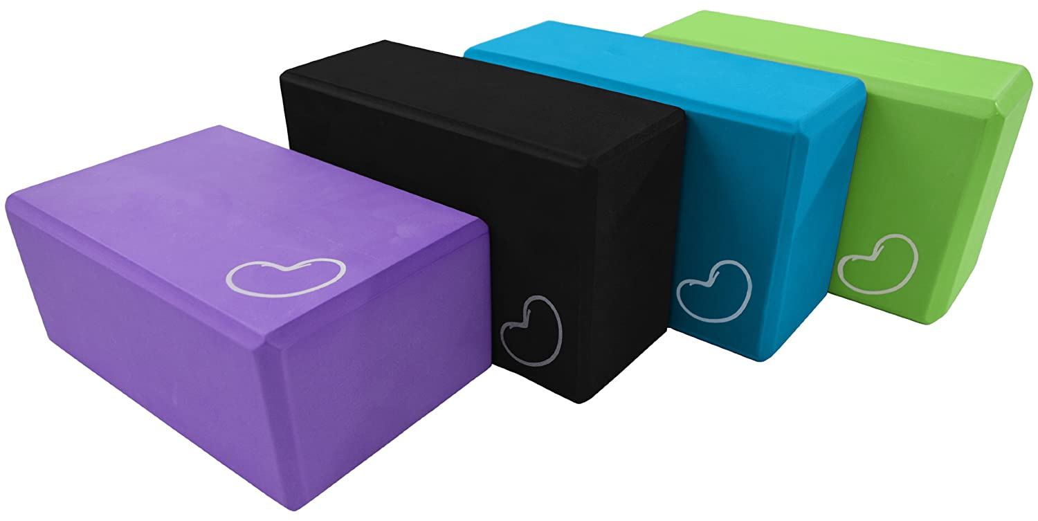 Yoga Block 1 or 2 pack 4 in. x 6 in. x 9 in. Larger Size High Quality 4 colors by Bean Products™