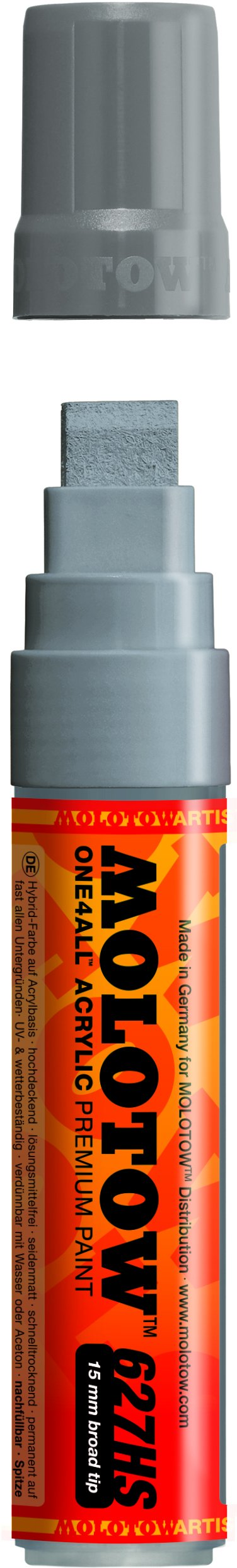 Molotow ONE4ALL Acrylic Paint Marker, 15mm, Cool Grey Pastel, 1 Each (627.218) (Color: 203 Cool Grey, Tamaño: Paint Marker - 15mm)