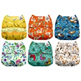Mama Koala One Size Baby Washable Reusable Pocket Cloth Diapers, 6 Pack with 6 One Size Microfiber Inserts (Animal Selfies) (Color: Animal Selfies, Tamaño: One Size)