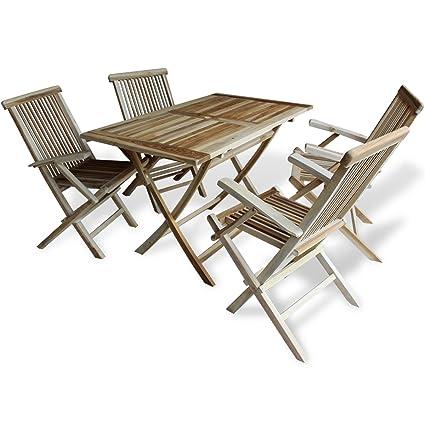 vidaXL Teak 5-tlg. Sitzgruppe Sitzgarnitur Holz Gartenmöbel Essgruppe Tisch Klappstuhle