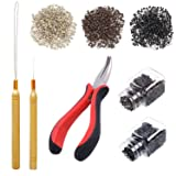 Luxtrip Pliers Pulling Hook Bead Device Tool Kits Hair Extension Kit 1500 Pieces Silicone Lined Micro Rings 2 retractors, 1 pliers