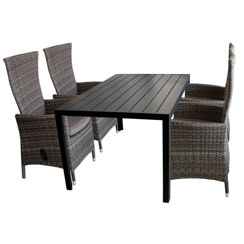5tlg. Gartengarnitur Aluminium Gartentisch mit schwarzer Polywood Tischplatte 150x90cm + 4x verstellbare Poly Rattansessel braun-meliert Sitzgruppe Sitzgarnitur Balkonmöbel Terrassenmöbel Set günstig